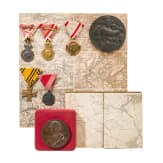 Two k.u.k. Austrian medals, one in a case, five awards and two maps