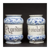 A pair of Italian apothecary vessels in the shape of syrup pots, 17th century