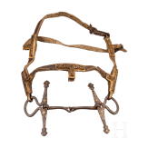 A chiselled Tibetan snaffle with silver and gold inlays, 18th century