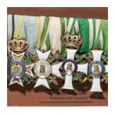 Muster einer siebenteiligen Ordensschnalle für sächsische Offiziere