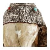 A silver mounted Tibetan snail shell horn (shankha), 19th century