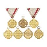 Sieben Jubiläums-Militärkreuze 1848 - 1908 und Bänder