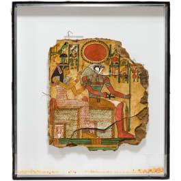 Isis und Ptah-Sokar auf einer polychrom bemalten Mumienhülle, Ägypten, 2. - frühes 1. Jtsd. v. Chr.