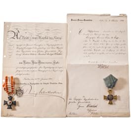 Red Eagle Order 4th class, Crown Order 4th class, each with a document