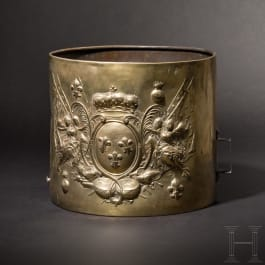 A drum for a grenadier regiment from the reign of Ludwig XV (1715 - 1774) with a German inscription, dated 1762