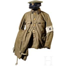 A uniform and equipment ensemble for a naval warrant officer, naval shore patrol, World War II