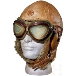 A Japanese Pilot Flight Helmet and Goggles