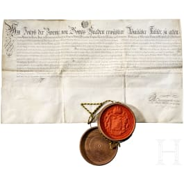 Emperor Joseph II - certificate of appointment as court pharmacist, dated 1782