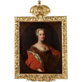 Empress Maria Theresa - portrait, in the original baroque frame, circa 1740