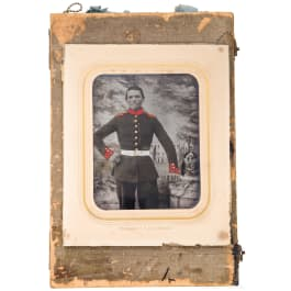 Partially colored photo of a soldier of the 3rd Infantry Regiment Margrave Ludwig Wilhelm
