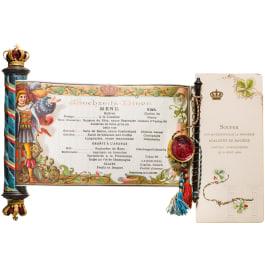 Princess Adalbert of Bavaria, a menu for the marriage between Isabella of Bavaria with Thomas of Savoyen, Nymphenburg, April 14 1883