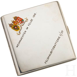 Silver artillery cigarette case, Christmas 1916