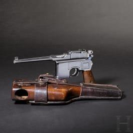 """Mauser C 96, """"Wartime Commercial"""", mit Anschlagkasten und Leder"""