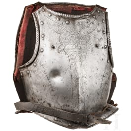 A heavy Italian bullet-proof cuirass with etched decoration, circa 1600