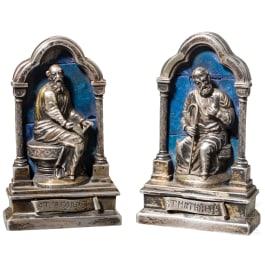 Ein Paar Heiligenfiguren der Apostel Jakobus und Matthäus, Silber und Lapislazuli, Italien, 17. Jhdt.