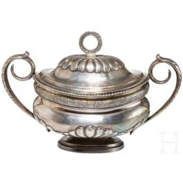 A large silver sugar box, ca. 1850