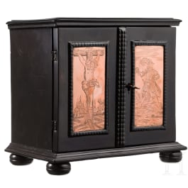 A Flemish miniature ebony cabinet case with engraved copper plaques, 1st half of the 17th century