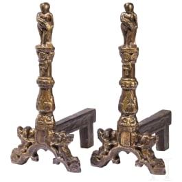 A pair of German Renaissance andirons, mid-16th century