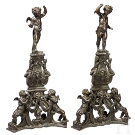 A pair of monumental Venetian andirons in Renaissance style, 19th century