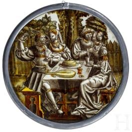 """Roundel """"Der verlorene Sohn beim Feiern mit den Huren"""", Niederlande, um 1520/30"""
