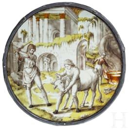 """Großes Rondell """"Schlachtung des gemästeten Kalbes"""", wohl Antwerpen, um 1560"""