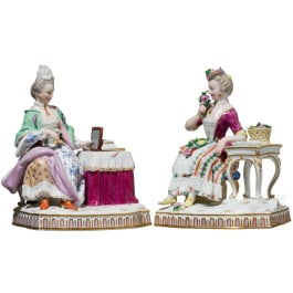 Two noble ladies in rococo garments, each at a table, Meissen, circa 1900