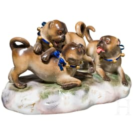 A group of three playing pugs, Meissen, 19th/20th century