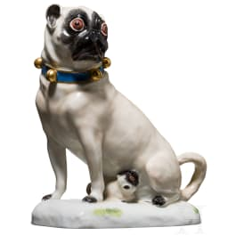A small sitting pug with puppy, Meissen, 19th/20th century
