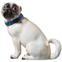 A large figure of a sitting pug, Meissen, 19th/20th century