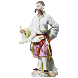 A figure of a standing Chinese or Japanese from the group of foreign peoples, Meissen, 20th century