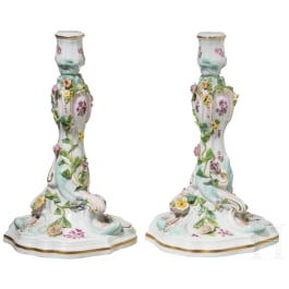 A pair of candlesticks in rococo style, Meissen, 19th century