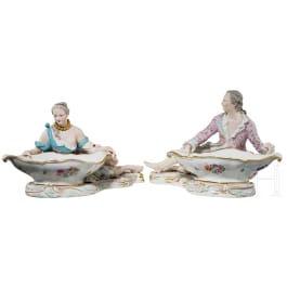 A pair of large saltcellars or offering bowls as counterparts, Meissen, 20th century