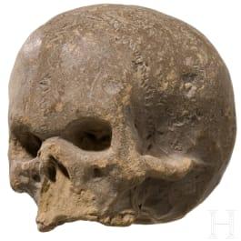 A remarkable Italian bozetto in shape of a memento mori skull, 17th century