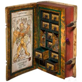 A secret poison cabinet in the shape of a book, historicism in the style of the 17th century