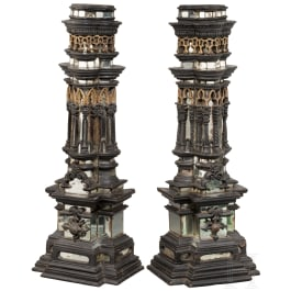 An exceptional pair of Kunstkammer objects in the shape of Renaissance pilasters, Augsburg, circa 1650