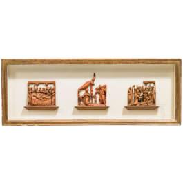 Drei Mikroschnitzereien mit Darstellungen aus dem Marienleben, flämisch/Frankreich, um 1600