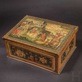 A large casket with bismuth painting, Upper Swabia, late 16th century