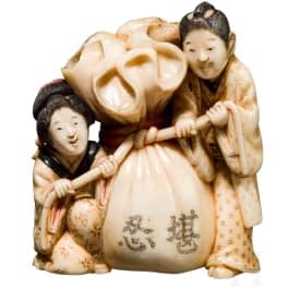 Okimono in Form von Hoteis Glückssack, Japan, Meiji-/Taisho-Periode