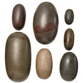 A group of seven Indian Lingam-Stones, 1st half of the 20th century
