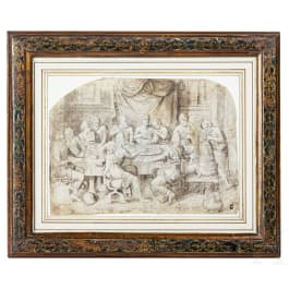 A washed drawing of the Last Supper, probably Flemish, 16th/17th century