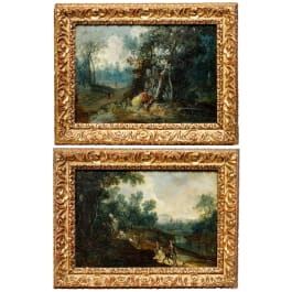 A pair of Dutch landscape paintings in original Baroque frames, 1st half of the 17th century