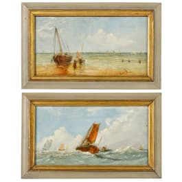 A pair of paintings with maritime motives, German or Dutch, 19th century