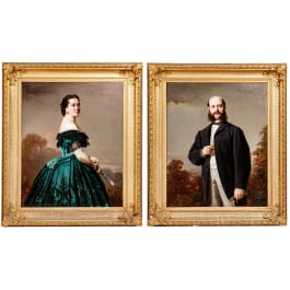 Conrad Freyberg (1842 - 1915), a pair of large portraits, dated 1866
