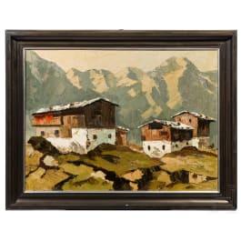 "Georg Arnold-Graboné, ""Tyrolean farm houses in the mountains"""