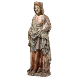 A French Gothic Madonna in limestone, Lorraine, 14th century