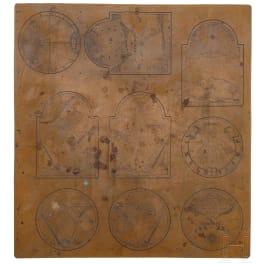 Kupferstichplatte für Sonnenuhrskalen, Schwaben, datiert 1744