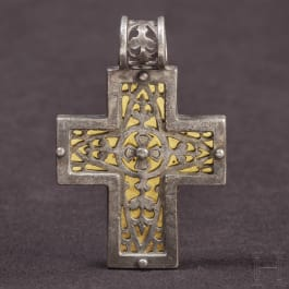 A mid- or late Byzantine cross pendant made of silver and gold, 8th - 13th century