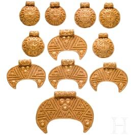Goldene Halskette aus elf Anhängern, wikingisch, Skandinavien, 10. – 11. Jhdt.