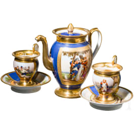 A coffee can and two cups with patriotic scenes, circa 1813