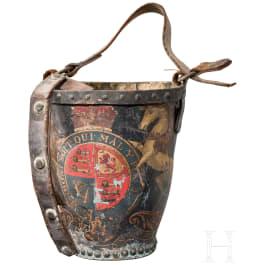 A leather bucket of the Royal Artillery, circa 1810-20